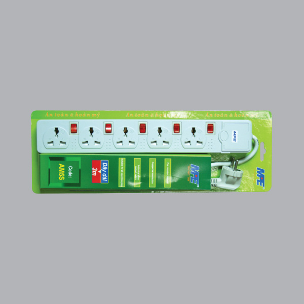 Ổ cắm điện MPE đa năng 5 lổ 5 công tắc 3 Mét 2000W