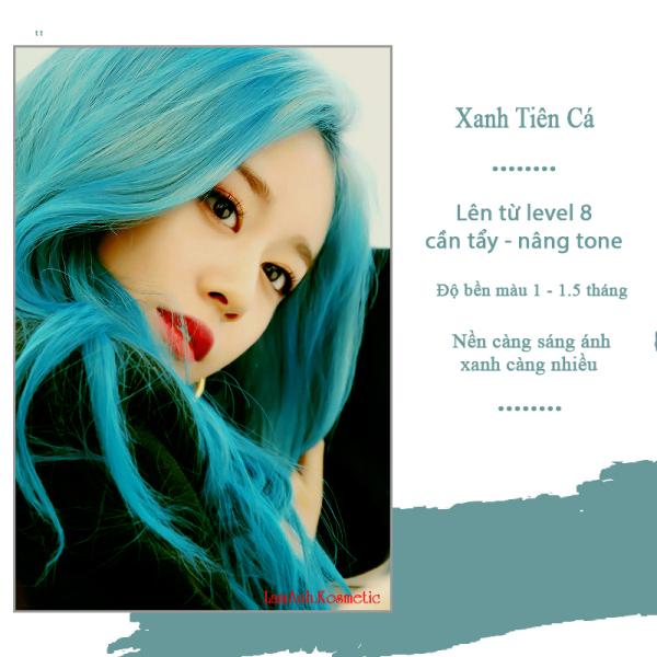 Thuốc nhuộm tóc màu Xanh Tiên Cá màu lên chuẩn tone kem nhuộm an toàn không sót da đầu mui thơm nhập khẩu