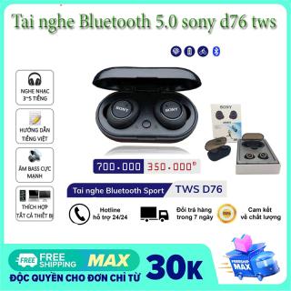 [HCM][ Miễn phí ship ] tai nghe bluetooth tai nghe không dây tốt nhất - Tai nghe Bluetooth 5.0 sony d76 tws chính hãng chống thấm mồ hôi Cốc sạc đa năng tiện lợi cho thời gian sử dụng 4h liên tục - có quà tặng thumbnail