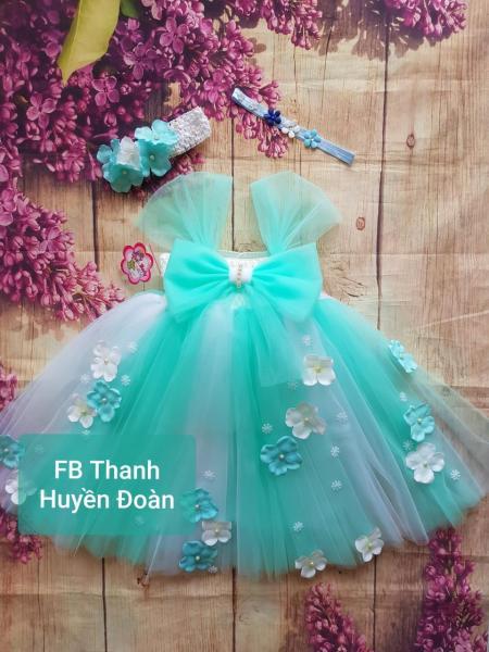 Giá bán Váy bé gái tutu công chúa vải voan màu trắng xen xanh ngọc - Nơ cho bé từ 0- 10 tuổi