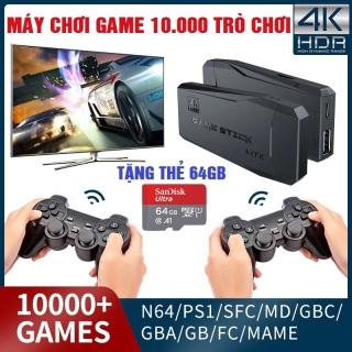 [Game stick 4K] Máy Chơi Gamer 4 Nút HDMI Không Dây Hơn 3500 10000+ Trò Chơi, Máy Chơi Game Cổ Điển ATARI PS1 FC GBA SFC thumbnail