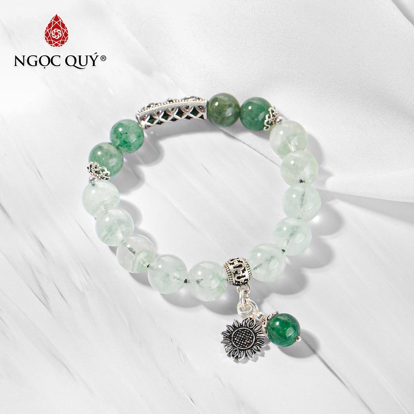 Vòng tay đá thạch anh ưu linh xanh phối charm hoa 10mm mệnh hỏa,mộc (màu xanh lá) - Ngọc Quý Gemstones