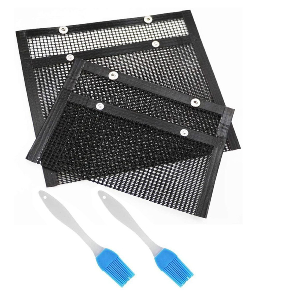 2Pcs BBQ Grill Mesh Bag with Silicone Brush Non-Stick Mesh Grilling Bag Reusable Mesh Grilling Bag Outdoor Picnic Tool