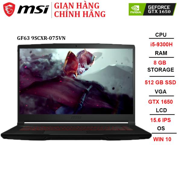 Bảng giá Laptop MSI GF63 Thin 9SCXR-075VN i5-9300H | 8GB | 512GB | VGA GTX 1650 4GB | 15.6 FHD | Win 10 Phong Vũ