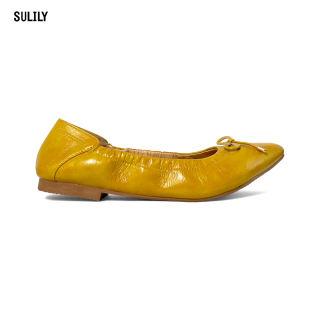 Giày Búp Bê Mũi Nhọn AD by Sullily màu vàng mang êm chân
