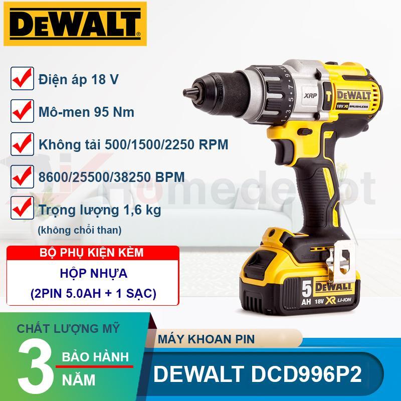 Máy khoan pin động lực DeWALT DCD996P2-KR 18V - 2 Pin 18V 5.0Ah, bảo hành 3 năm