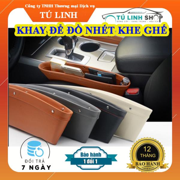 01 Khay để đồ khe ghế bằng da cho ô tô - chống rơi đồ (màu Nâu)