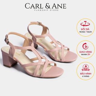 Carl & Ane - Giày sandal phối dây thời trang nữ mũi vuông gót cao 5cm CS002 (PI) thumbnail