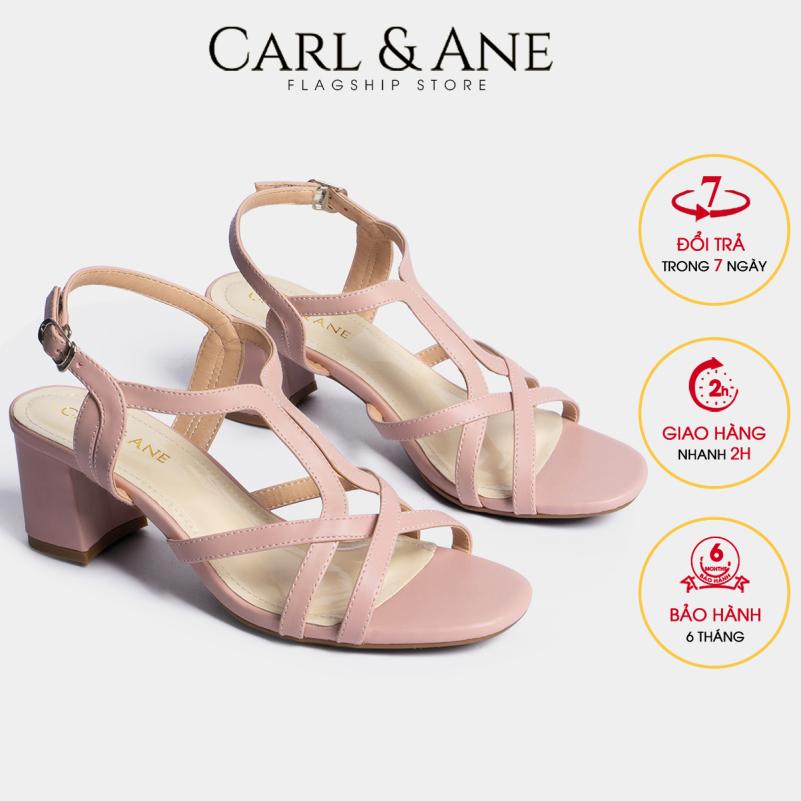 Carl & Ane - Giày sandal phối dây thời trang nữ mũi vuông gót cao 5cm CS002 (PI) giá rẻ