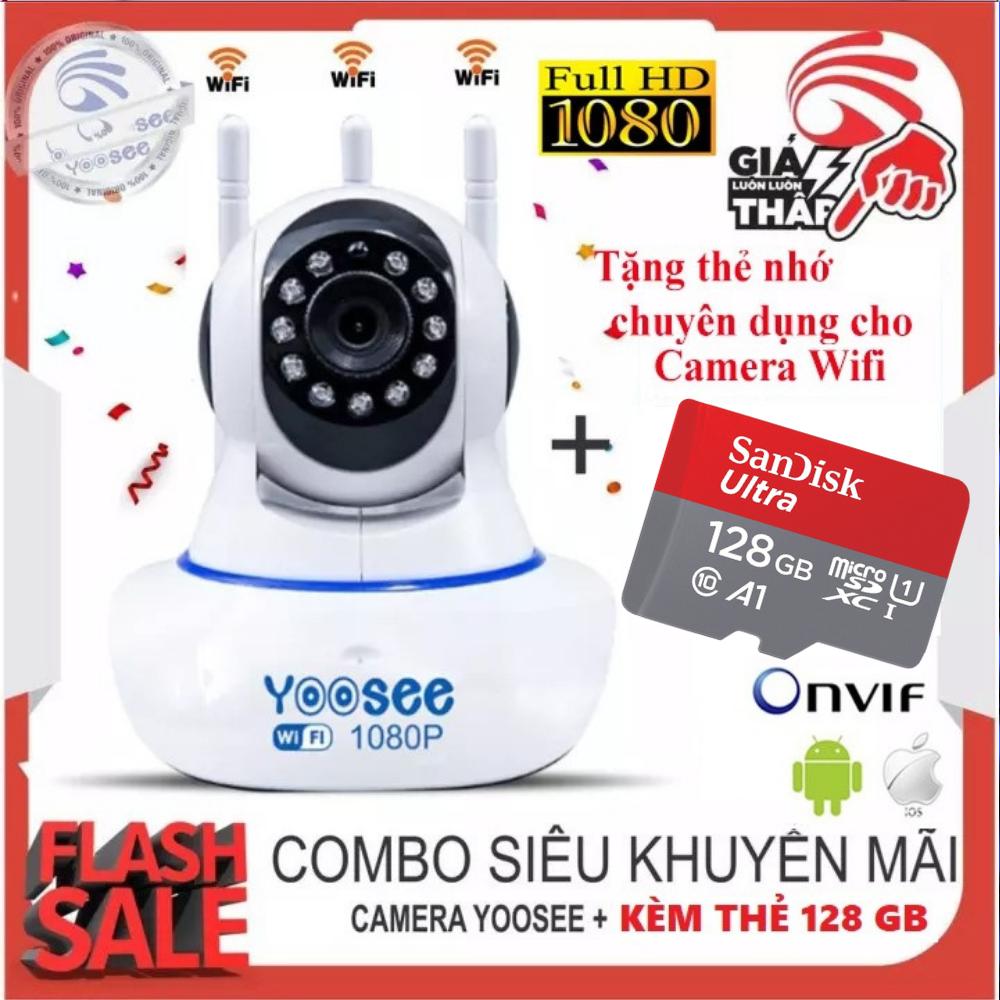 (KÈM Thẻ Nhớ 128 GB LOẠI XỊN,BẢO HÀNH  5 NĂM) Camera IP Wifi Yoosee 3 Râu xoay 360 độ độ phân giải FULL HD 2.0 MP 1920x1080p , CAMERA Không Dây , Camera trong nhà , camera ngoài trời , Camera hồng ngoại tích hợp ghi âm