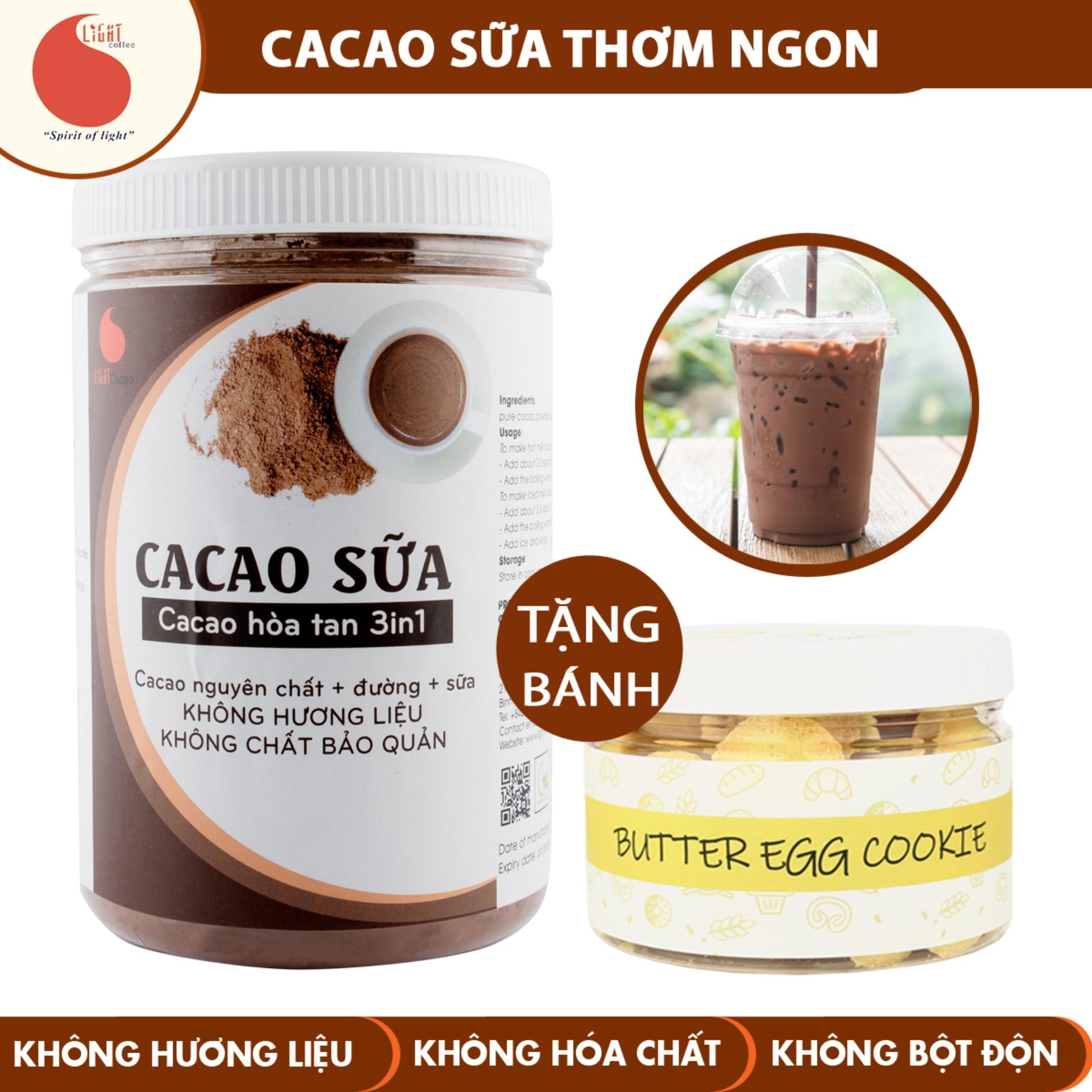 Bột CACAO SỮA đậm đà Thơm Ngon, đặc Biệt Không Pha Trộn Hương Liệu - Light Cacao - Hũ 550g - Tặng Bánh Butteregg 120g Siêu Ưu Đãi tại Lazada