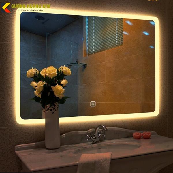 Gương phòng tắm có đèn led Gương nhà tắmcảm ứng 3 kèm [phá sương chạm thông minh kích thước 50x70 cm - guonnghoangkim mirror giá rẻ