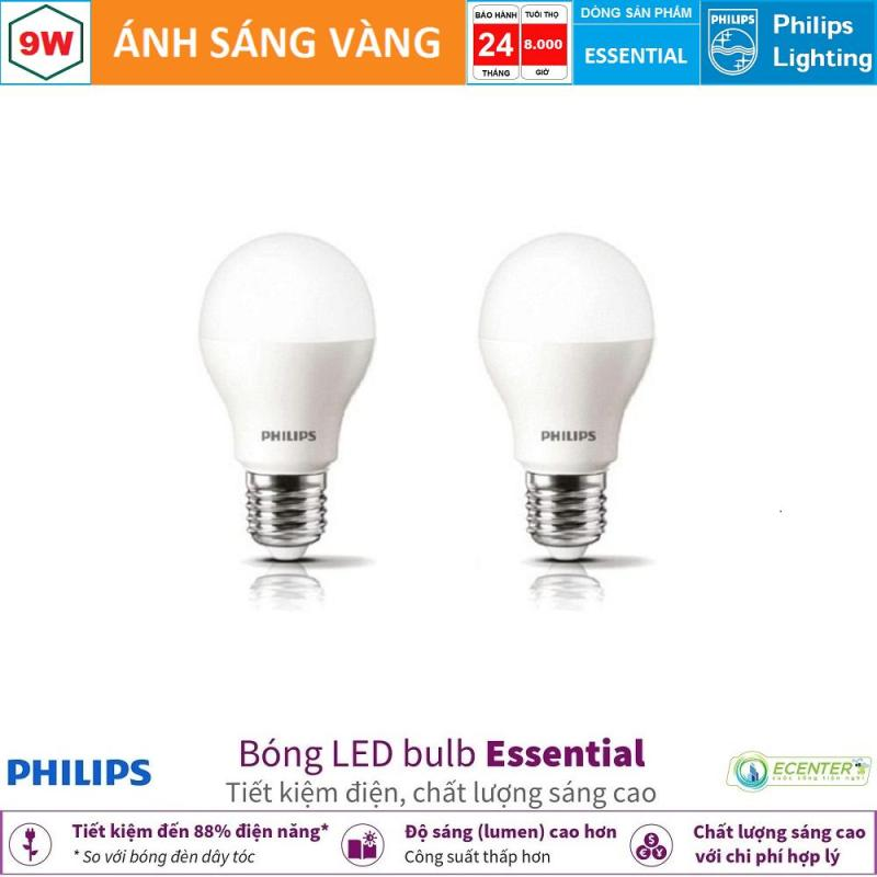( Bộ 2 ) Bóng LED Bulb Philips Essential 9W E27 ( Ánh sáng vàng & trắng)