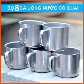 [ COMBO 8 LY INOX ] Ly inox có quai uống nước. Ca làm đá có quai bằng inox thumbnail