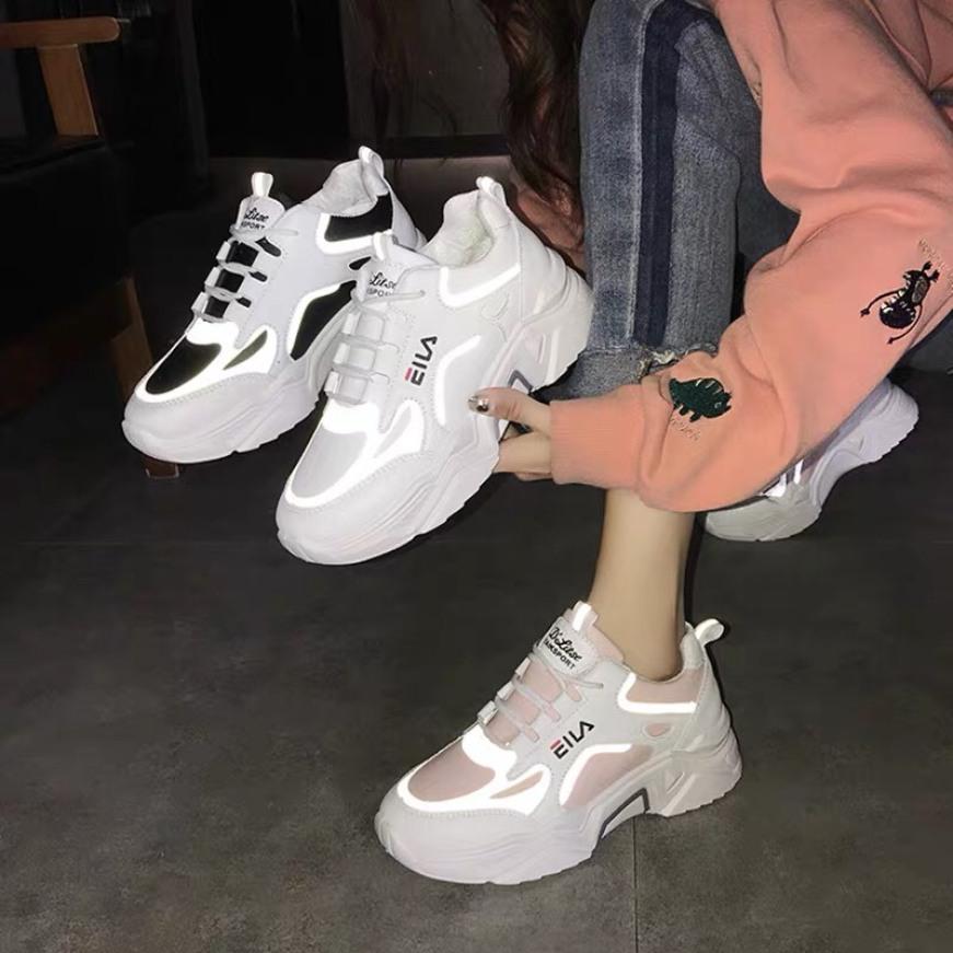 Giày Thể Thao Sneaker Nữ Eia Phản Quang Kiểu Dáng Thời Trang Mang Êm Nhẹ Chân Phù Hợp Với Mọi Lứa Tuổi + Tặng Tất giá rẻ