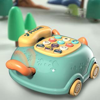 Đồ chơi điện thoại bàn hình con mèo có bánh xe - Điện thoại ô tô có nhạc và đèn cho bé - Time365 thumbnail