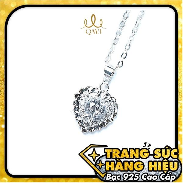 QMJ Dây chuyền bạc 925 cao cấp tim 3 lớp nạm đá tinh tế thiết kế độc lạ, thích hợp với cô nàng thích sự độc và lạ trang sức thời trang nữ đẹp - QKL0291