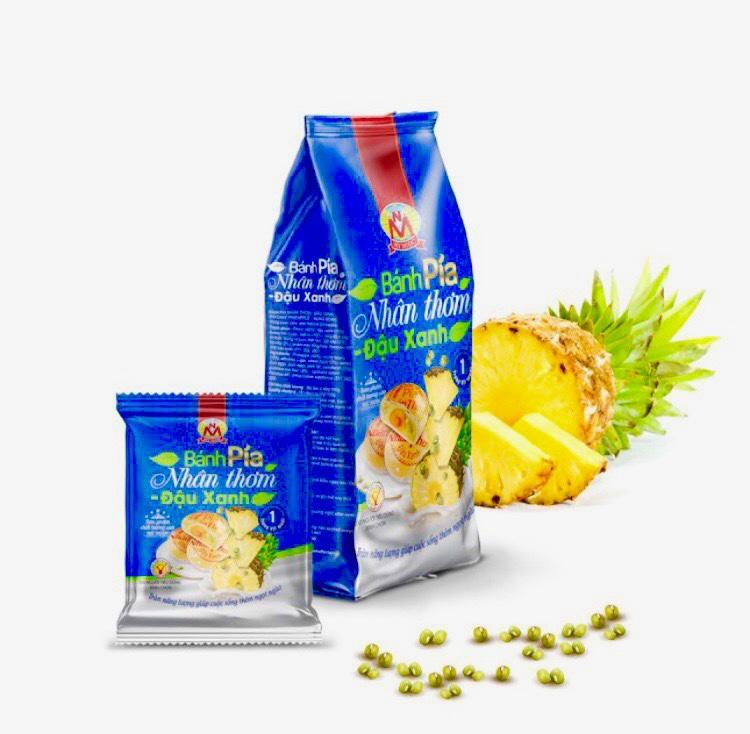 400g Bánh pía NHÂN THƠM chín ĐẬU xanh CHANH tươi MỸ NGỌC [ KHÔNG CÓ sầu riêng & CÓ trứng muối ], không hóa chất độc hại, đảm bảo tiêu chuẩn theo Ban Quản Lý Vệ Sinh An Toàn Thực Phẩm HCM