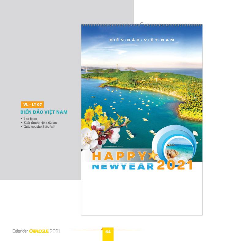 XẢ HÀNG - Lịch tường 2021 - 7 tờ Biển đảo Việ t N am (lò xo) 40x63cm