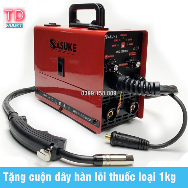 Máy hàn Sasuke MIG 200 mini, Máy Hàn Khí mini, Máy Hàn Điện mini Máy hàn Mig Máy Hàn không dùng khí SASUKE 200 mini 3 chức năng - Bảo hành 12 tháng