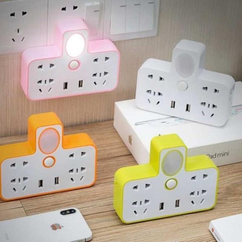 Bảng giá Ổ Cắm Điện Phát Sáng Hình Chữ T, Có Đèn Phát Sáng Làm Đèn Ngủ, Ổ USB, Cắm Điện Thoại, Siêu Tiện Dụng