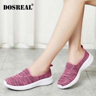 Dosreal Giày Cho Nữ Đan Mút Chạy Bộ Nữ Trơn Trượt Trên Giày Đế Bằng Nữ Size Lớn 35-41 Cho Nữ Đế Bằng giày Đi Bộ
