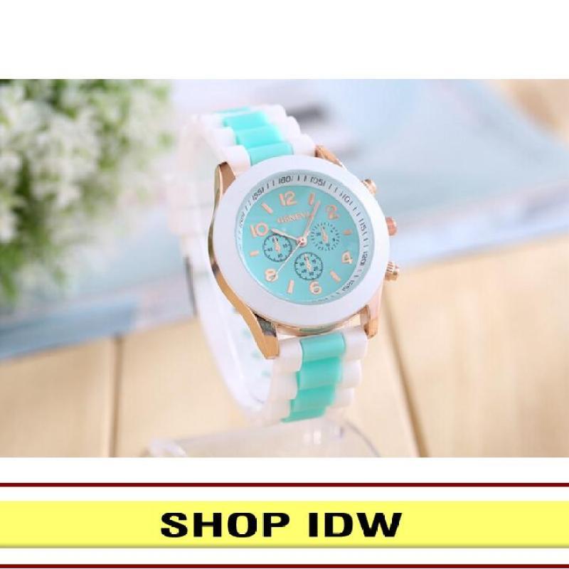 Nơi bán [Có video quay thật] Đồng hồ nữ dây silicon thời trang Geneva IDW 8291 (Nhiều màu lựa chọn)