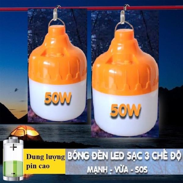 Bóng đèn LED sạc tích điện 50w 3 chế độ (4-6H) sử dụng cho hàng quán vỉa hè, hàng rong, dã ngoại, picnic ngoài trời