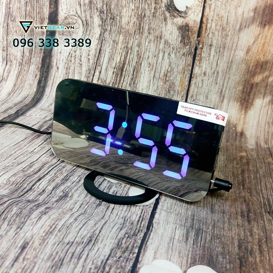 Nơi bán Đồng hồ gương V2, chữ to rõ ràng, có báo thức màu đen chữ xanh dương