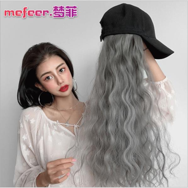 Nón tóc giả xù đũa Hàn Quốc ( NÓN LƯỠI TRAI MÀU ĐEN & TÓC MÀU XÁM KHÓI )