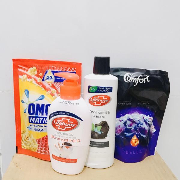 Mua trọn bộ 4 món tiện ích - Tặng 10 gói sữa tắm dâu tằm 6g : 1Chai Sữa Tắm Dexto Lifebuoy 2000g + 1túi nước giặt omo 150g +1túi nước xả comfor 120ml + 1chai nước rửa tay lifebouy 120ml