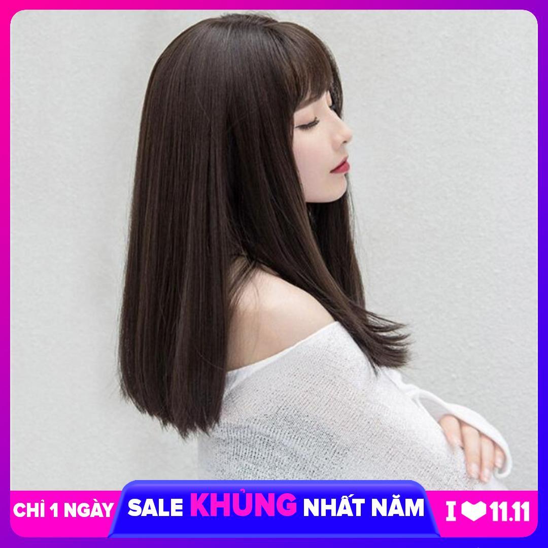 [TẶNG KÈM LƯỚI] Tóc giả nữ sợi tơ Hàn Quốc CÓ DA ĐẦU - TG34 ( NÂU SOCOLA Y HÌNH )