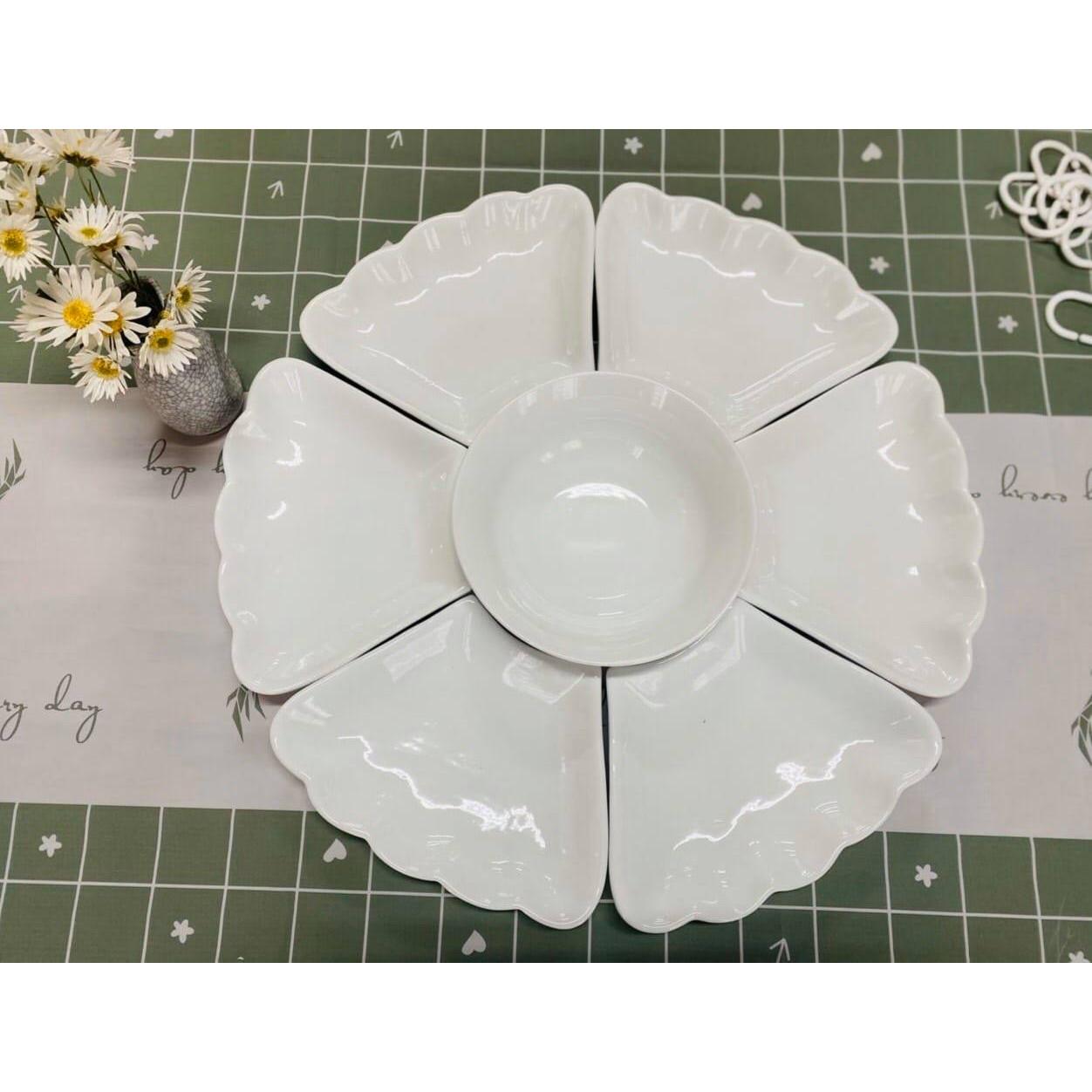 Bộ bát đĩa Hoa mặt trời loại 1 màu trắng - Gốm sứ Bát Tràng xịn xò