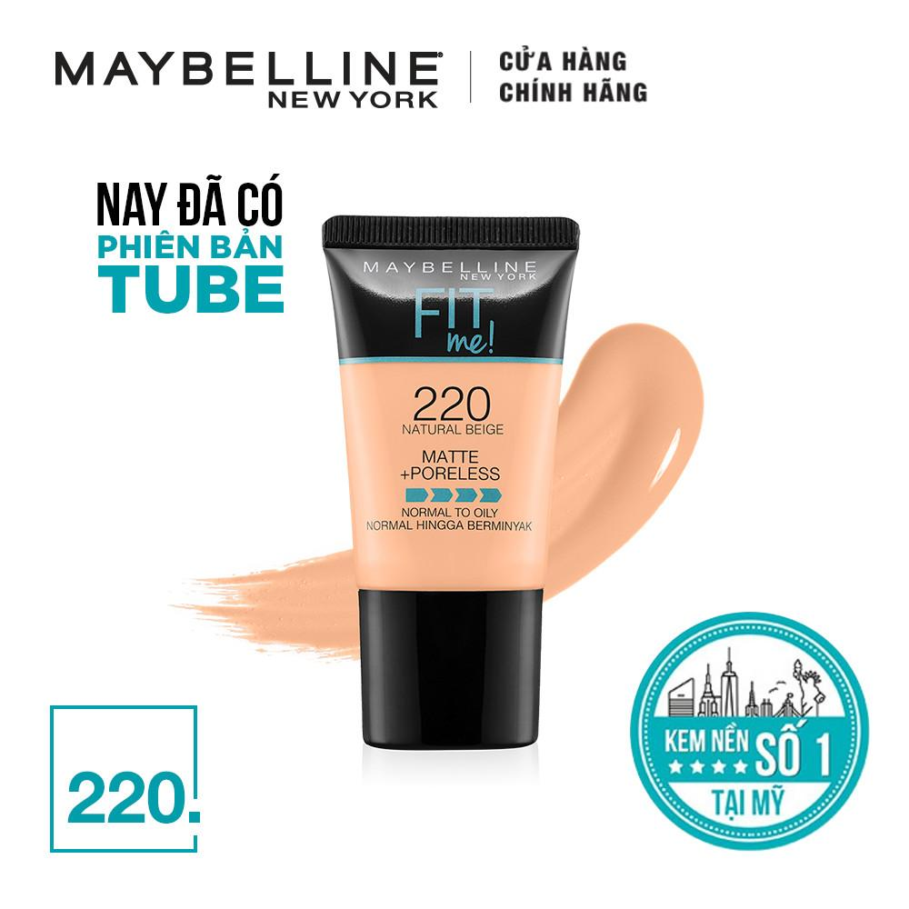 Kem nền mịn lì tự nhiên Maybelline Fit Me Matte Poreless Foundation Tube 18ml nhập khẩu