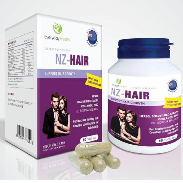 {Nhập Newzealand} NZ-HAIR – Giúp giảm rụng tóc, chậm bạc tóc, kích thích mọc tóc, giúp tóc chắc khỏe dày mượt (60 viên)