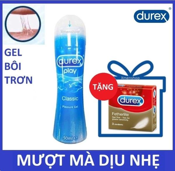 [HCM]Combo 1 chai Gel bôi trơn Durex Play Classic 50ml - Mượt mà dịu nhẹ tặng 1 hộp bcs 3c