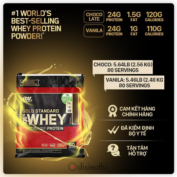 Bột Tăng Cơ Whey Protein Whey On Optimum Nutrition Gold Standard 100% 80 Servings 2.48kg-2.56kg Whey Protein Isolate Tăng Sức Bền Sức Mạnh, Đốt Mỡ Giảm Cân, Giảm Mỡ Bụng Cho Người Tập Gym Hàng Nhập Mỹ Giá Quá Ưu Đãi