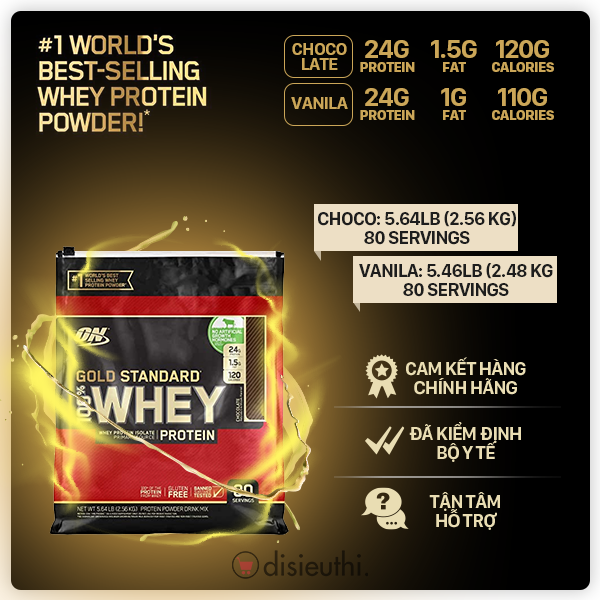 Bột Tăng Cơ Whey Protein Whey On Optimum Nutrition Gold Standard 100% 80 Servings 2.48kg-2.56kg Whey Protein Isolate Tăng Sức Bền Sức Mạnh, Đốt Mỡ Giảm Cân, Giảm Mỡ Bụng Cho Người Tập Gym Hàng Nhập Mỹ cao cấp