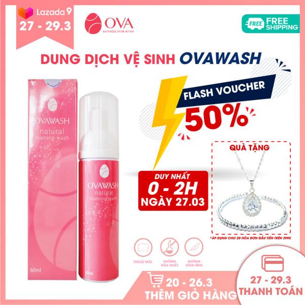 Dung dịch vệ sinh phụ nữ kháng khuẩn Ovawash, tạo bọt, làm hồng, ngăn ngừa và giảm nguy cơ viêm nhiễm vùng kín, loại bỏ mùi hôi tanh, dung tích 60ml