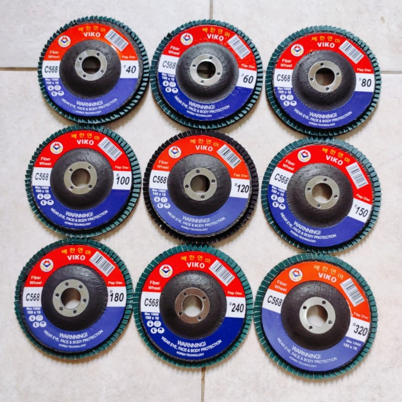 ComBo 90 chiếc Ráp xêp VIKO 100mm, độ mịn 40-320cc, mỗi cát 10c, nhám xếp Hàn Quốc chính hãng, Cty XNK VIKO Việt Nam