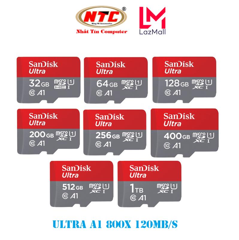 Thẻ nhớ MicroSDXC SanDisk Ultra A1 32GB / 64GB / 128GB / 200GB / 256GB / 400GB / 512GB / 1TB 800x U1 120MB/s - Không Adapter (Xám) - New Model - Nhat Tin Authorised Store