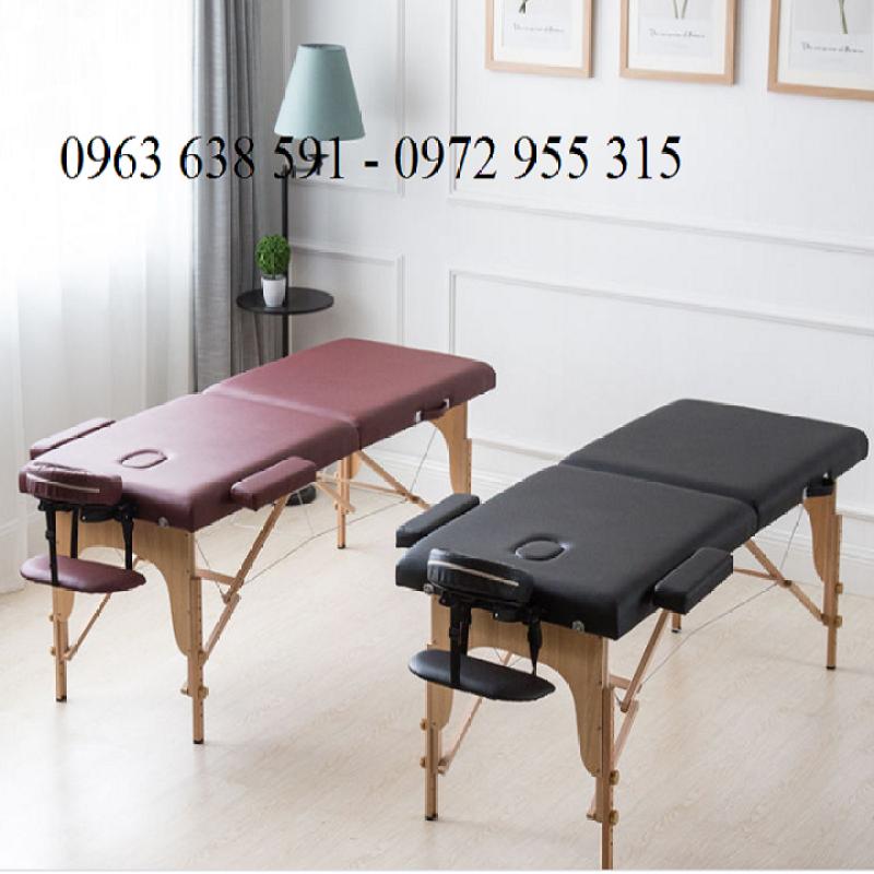 Giường Massage Gấp Gọn Chân Gỗ Cao Cấp - Giường Spa