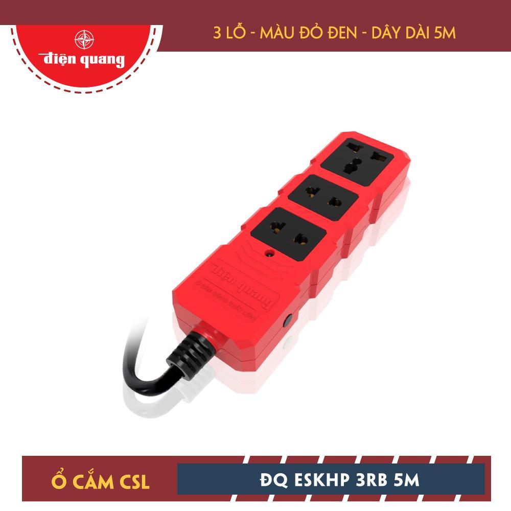 Ổ cắm Công suất lớn Điện Quang ĐQ ESKHP 3RB 5M (3 lỗ, màu đỏ đen, dây dài 5m)