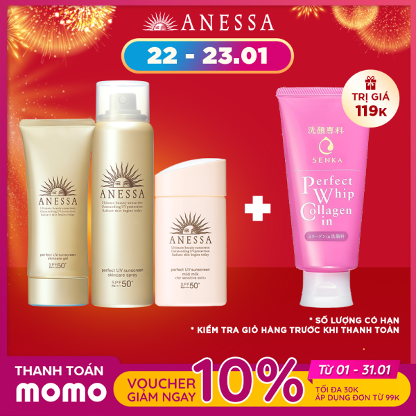Bộ sản phẩm kem chống nắng dưỡng da Anessa bảo vệ hoàn hảo và dịu nhẹ toàn thân (Anessa Perfect UV Gold Gel + Gold Spray + Mild Milk) cao cấp