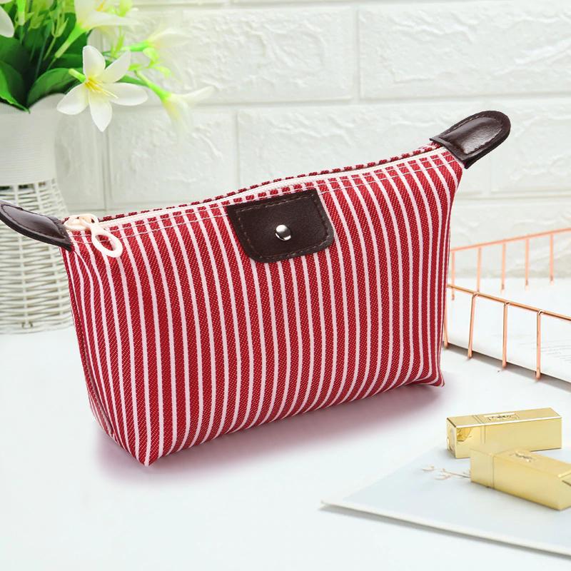 Túi đựng mỹ phẩm trang điểm chống thấm kẻ sọc túi mỹ phẩm cá nhân nhỏ gọn tiện lợi TK-T022