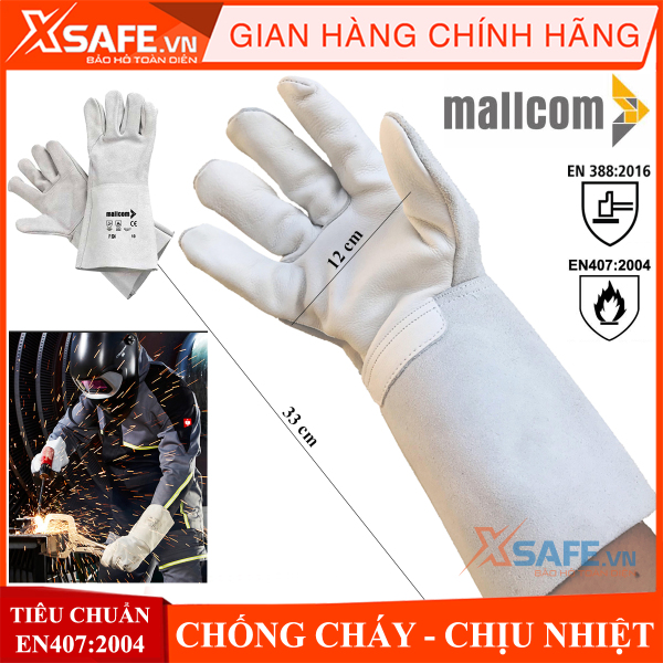 Găng tay hàn Mallcom - bao tay hàn da bò thật, độ khéo léo cao, chịu nhiệt, chống cháy, găng tay hàn tig dài tay (33cm) (1 đôi)- [XSAFE] [XTOOL]