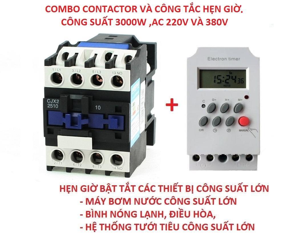 Combo công tắc hẹn giờ KG316 T-II và Contactor CJX 1810 18A/220v.