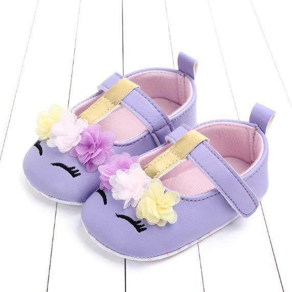 Giày tập đi mắt tím và hoa dễ thương cho bé gái