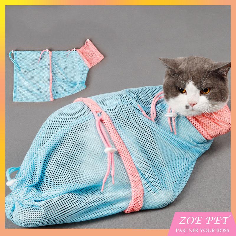 Túi lưới đa nặng giúp tắm, cắt mòng, vệ sinh tai cho mèo - kích thước 33x62 cm