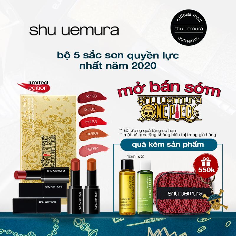 [phiên bản giới hạn One Piece] bộ 5 son mini shu uemura rouge unlimited amplified matte lipstick